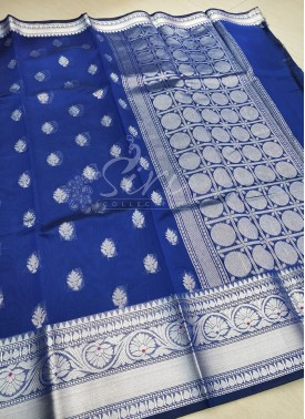 Beautiful Royal Blue Cotton Silk Saree in Silver Zari