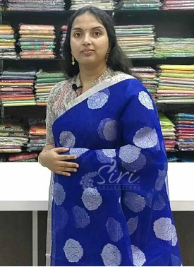 Beautiful Royal Blue Fine Banarasi Net Saree in Silver Zari