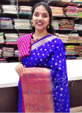 Beautiful Royal Blue Magenta Banarasi Organza Saree