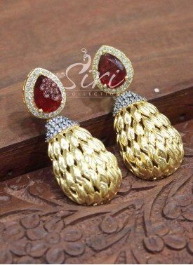 Beautiful Ruby AD Stone Fancy Earrings