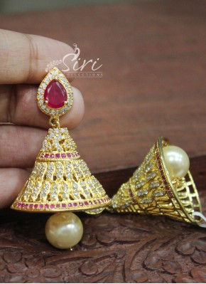 Beautiful Ruby AD Stone Jhumkis with Pearl Drops