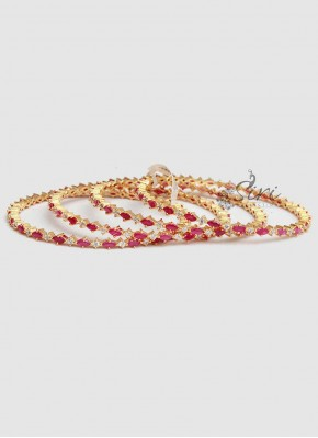 Beautiful Ruby AD Stone Set of four Bangles
