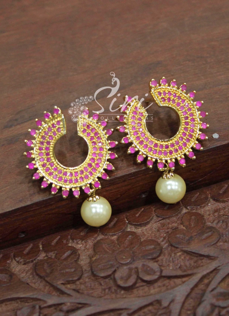 Beautiful Ruby Stone Earrings with Pearl Drops