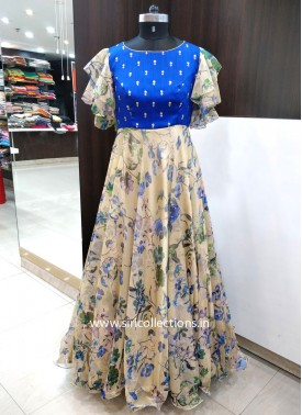 Beautiful Ruffle Sleeves Printed Net Long Frock