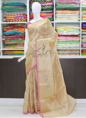 Beautiful Saree in Silver Gold Zari Jaal