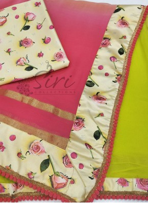 Beautiful Shaded Designer Saree in Floral Borders