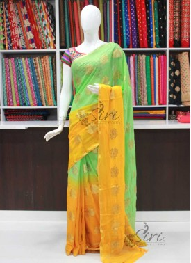 Beautiful Shaded Fancy Banarasi Georgette Saree