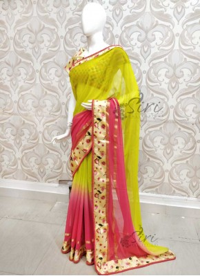 Beautiful Shaded Georgette Saree in Floral Borders