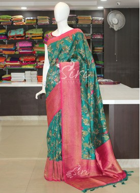Beautiful Teal Green Pink Printed Dupion Saree in Zari Butis