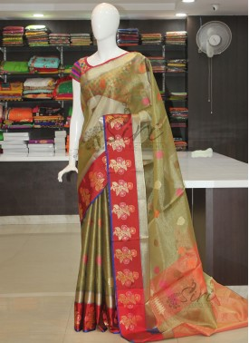 Beautiful Tissue Saree in Contrast Border and Multi Colour Butis