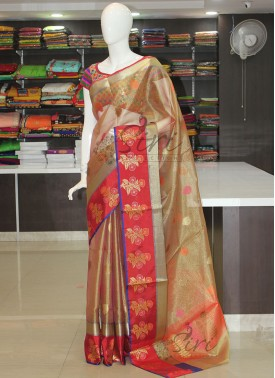 Beautiful Tissue Saree in Contrast Border and Mult