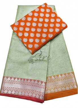 Beautiful Tissue Saree with Banarasi Silk Blouse