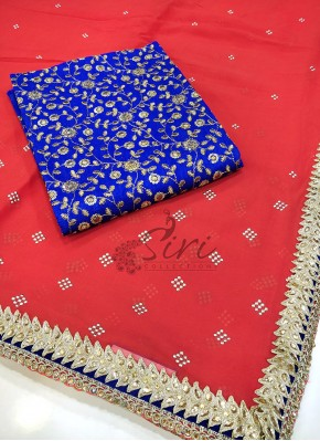 Beautiful Tomato Red Fine Chiffon Saree in Stone Cut Work Borders