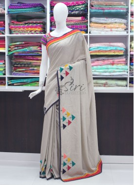 Beautiful Trendy Designer Fancy Saree In Applique and Stone Work