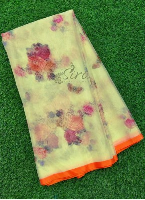 Beautiful Trendy Digital Print Organza Saree