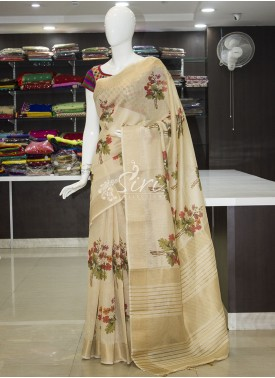 Beautiful Trendy Digital Print Soft Jute Banarasi Saree