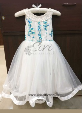 Beautiful White Blue Kids Frock for One Year Old
