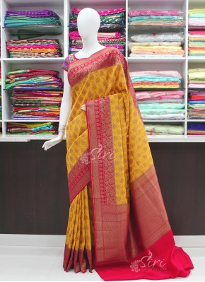 Beautiful Yellow and Red Banarasi Silk Saree