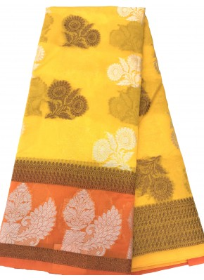 Beautiful Yellow Banarasi Kora Saree in all Over Buti Design with Contrast Border