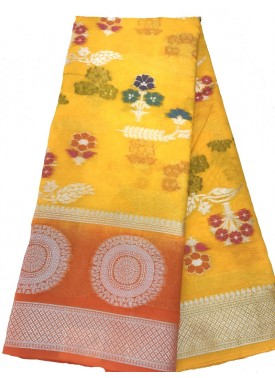 Beautiful Yellow Banarasi Kora Saree in Multi Colour Buti Design with Contrast Border