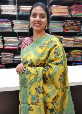 Beautiful Yellow Cotton Silk Seico Saree