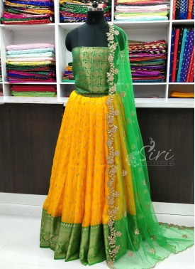 Beautiful Yellow Green Jute Silk Lehenga Fabric Set with Cut Work Dupatta