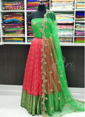 Beautiful Gajri Pink Green Jute Silk Lehenga Fabric Set with Cut Work Dupatta
