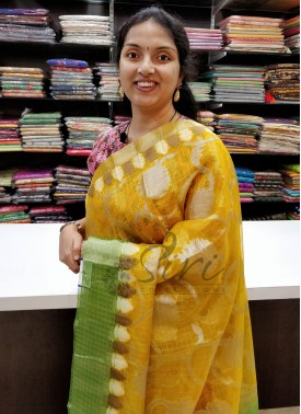 Beautiful Yellow Green Soft Kora Organza Saree