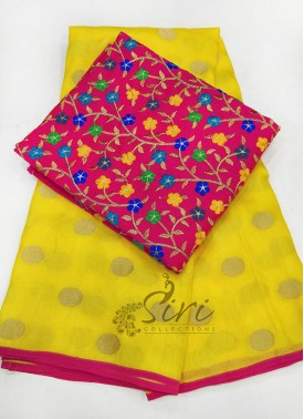 Beautiful Yellow Jute Silk Saree in Self Polka Dots Weave