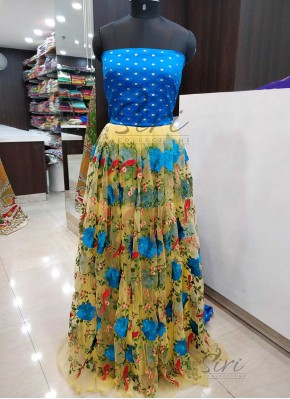 Beautiful Yellow Net Lehenga Fabric and Ananda Blue Jacquard Crop Top Fabric Set