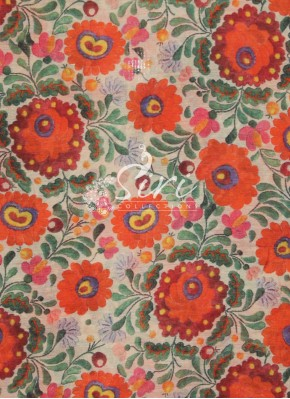 Beige Colour Moonga Silk Fabric in Multi Colour Digital Print by Meter