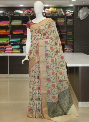 Beige Designer Chanderi Cotton Silk Saree in Allover Design