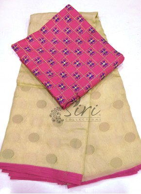 Beige Gold Jute Silk Saree in Self Polka Dots Weave