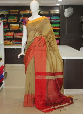 Beige Gold Maroon Red Bailou Saree
