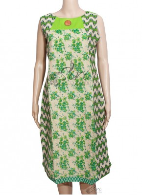 Beige Green Jute Sleeveless Kurti