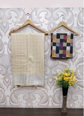 Beige Jute Linen Saree Teamed with Digital Print Blouse Fabric