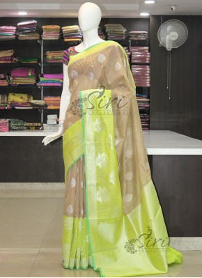 Beige Lemon Greenish Yellow Fancy Jute Saree