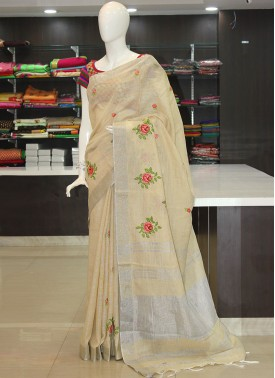 Beige Linen Saree in Embroidery Work Butis