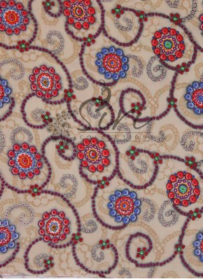 Beige Multi Printed Rayon Fabric By Meter