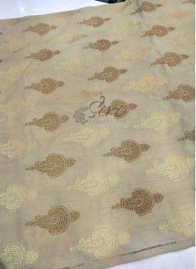 Beige Pure Banarasi Silk Fabric in Gold and Antique Zari Butis Per Meter