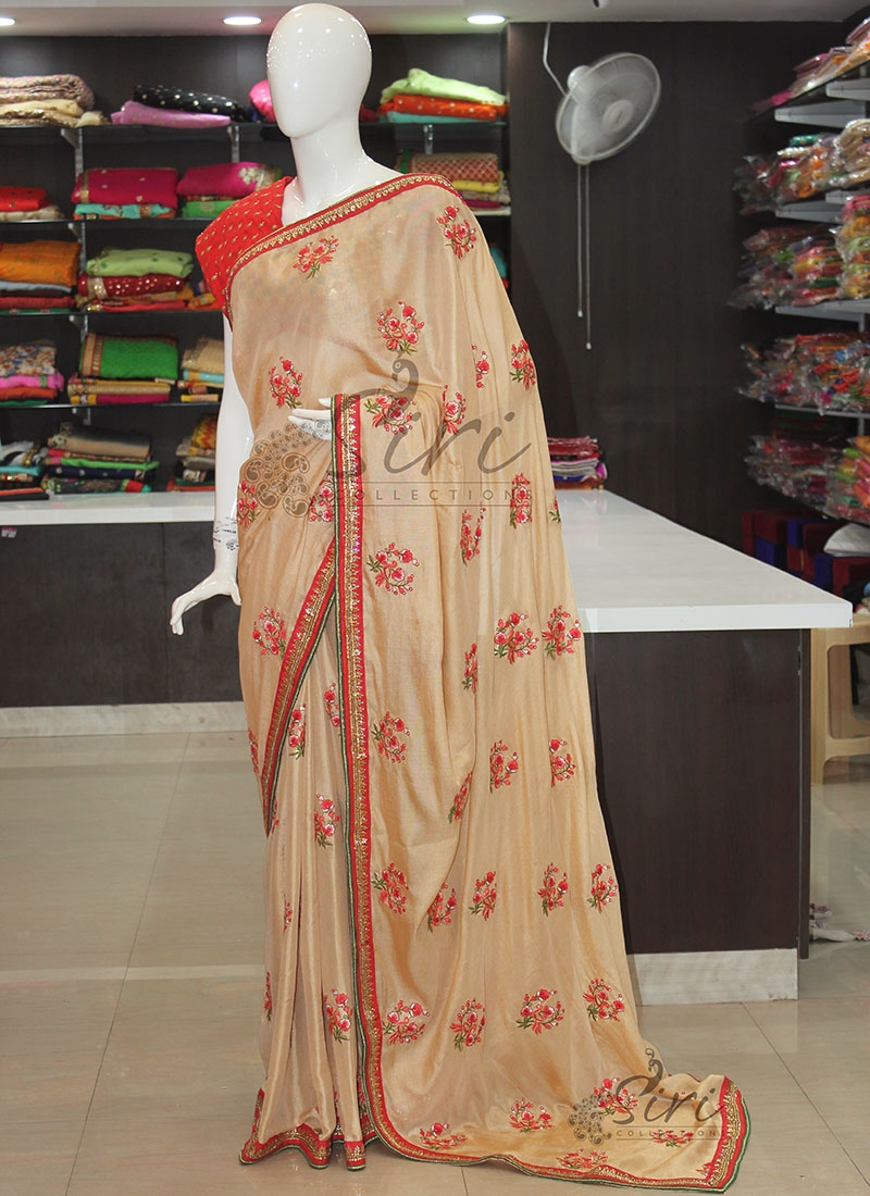 Beige Soft Kala Silk Designer Saree in Embroidery Work Butis and Stone Work Borders