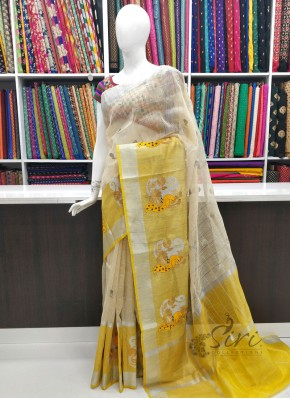 Beige Yellow Pure Banarasi Linen Saree in Embroidery Work