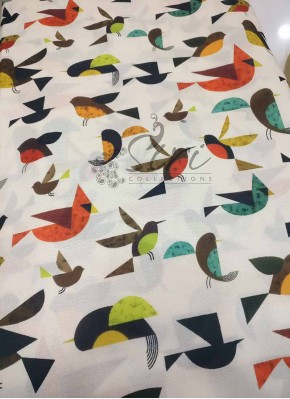 Birds Design Crepe Silk Digital Print Fabric Per Meter