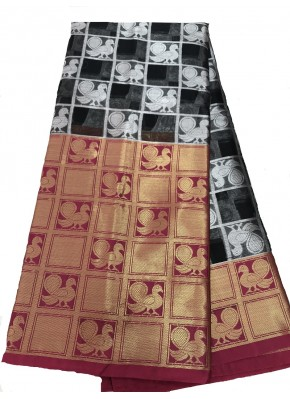 Black and Gold Combination Kora Organza Saree in All Over Silver Buti