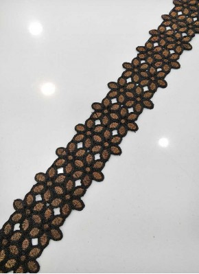 Black Antique Zari Fancy Cut Work Border Lace