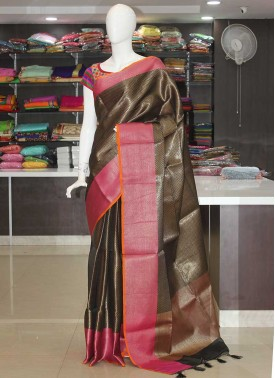 Black Banarasi Kora Silk Saree in Allover Weave