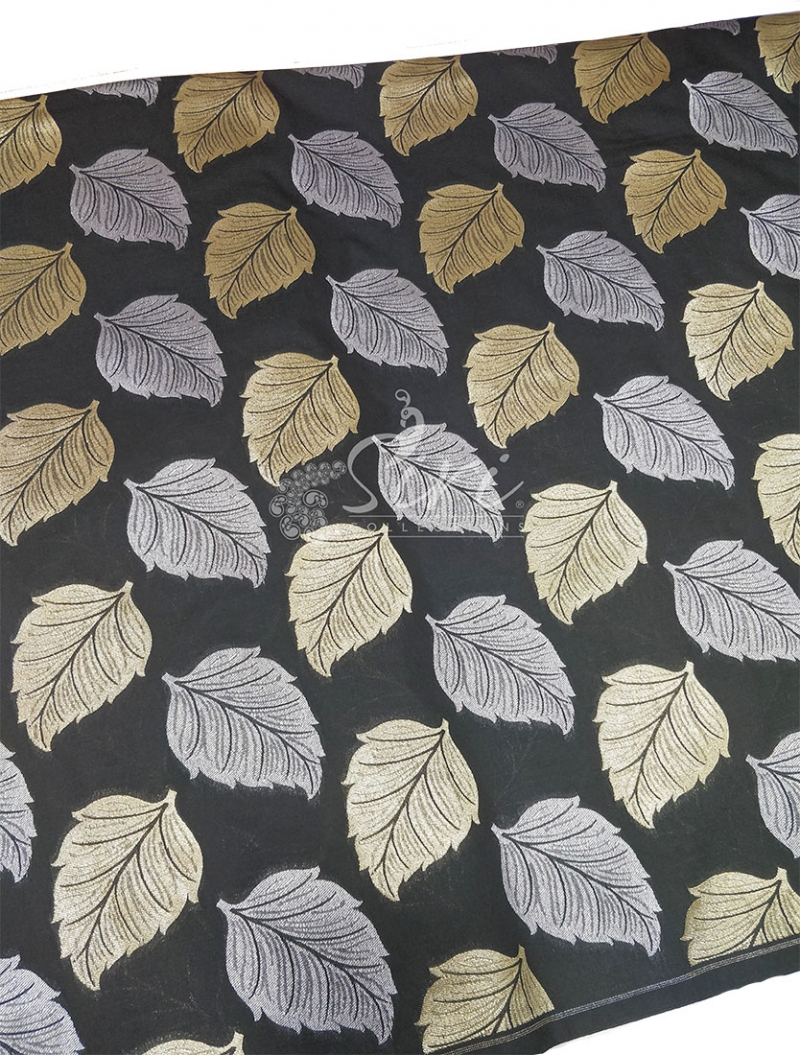 Black Banarasi Silk Fabric in Big Leaf Design