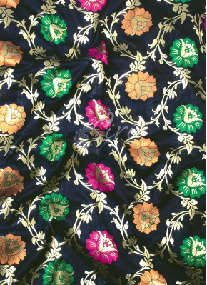 Black Banarasi Silk Fabric in Multi Meena Jaal Per Meter