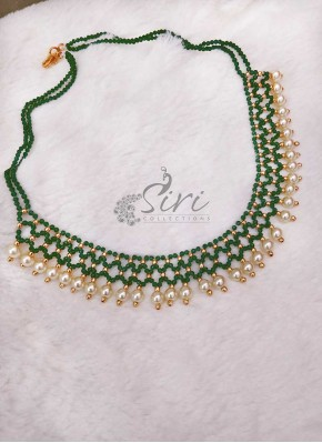 Designer Necklace Chain in Green Spinels