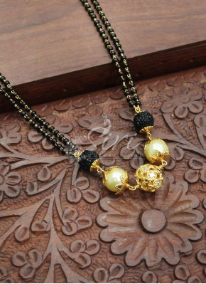 Black Beads Mangalsutra chain in stone ball pearls fancy beads